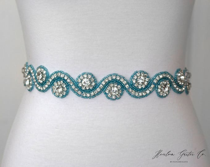 Turquoise Blue Rhinestone Dress Sash - The Perfect Elegant Wedding Dress Belt, B30 turquoise