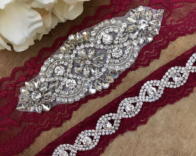 Burgundy Red Wedding Garter Set NO SLIP grip vintage rhinestones A01S-A*B19S