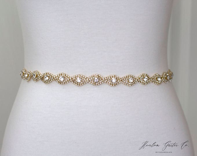 Gold Rhinestone Belt, Crystal Bridal Belt, Bridal Sash, Wedding Belt, Wedding Sash Rhinestone Sash B19G
