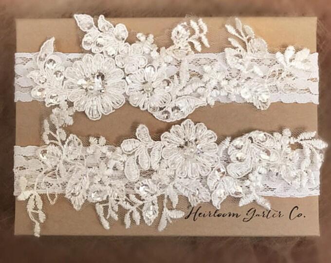 Floral Lace Wedding Garter Set, bridal garter set, vintage rhinestones C16-C16