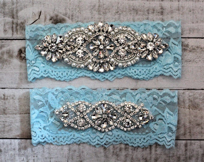 SALE - something Blue Bridal Garter, Lace Wedding Garter Set, bridal garter set, pearl and rhinestone garter set, TIFFANY A01S-A02S