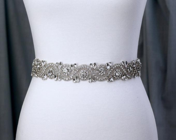 Silver crystal Bridal Belt, Bridal Sash, Wedding Belt, Wedding Sash Rhinestone prom belt B23