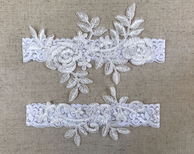 Lace Wedding Garter Set, bridal garters floral garter set C28-C28