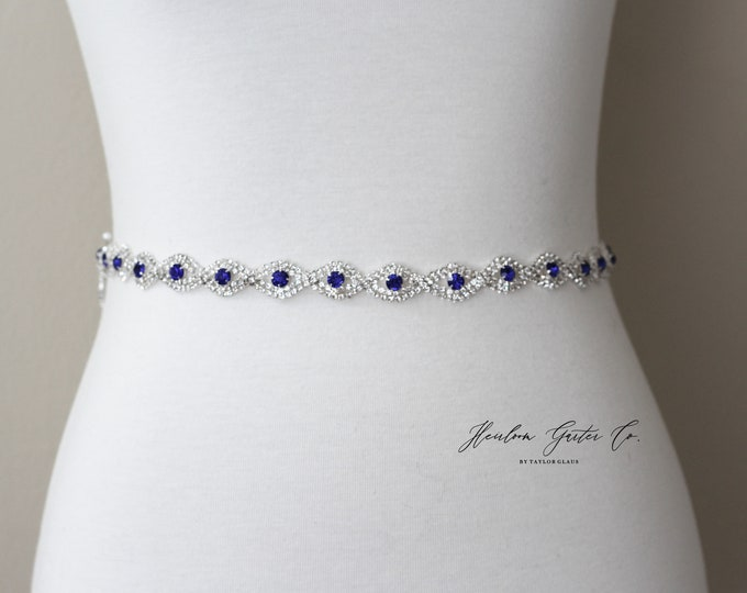 Blue Bridal Belt, Rhinestone Bridal Belt, bridesmaid belt, Bridal Sash, Wedding Belt, Wedding Sash Rhinestone Sash B19S BLUE