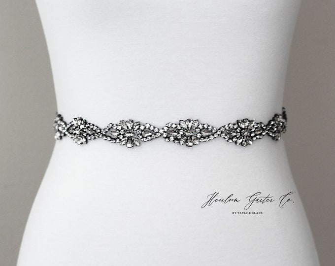Black Bridal Belt, Prom Belt, Rhinestone Bridal Sash, Beaded Bridal Sash, Wedding Belt, Wedding Sash Rhinestone Sash B88B