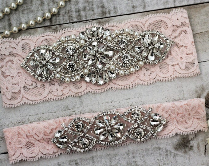 Blush Pink Wedding Garter Set NO SLIP grip vintage rhinestones, pearl and rhinestone garter set BLUSH A01S-A*02S