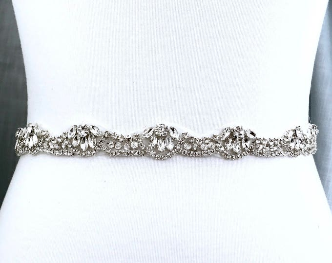 Silver crystal Bridal Belt, Bridal Sash, Wedding Belt, Wedding Sash Rhinestone prom belt B36S