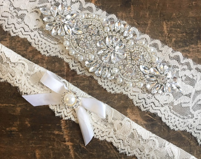 Wedding Garter Set Crystal and Pearl NO SLIP grip IVORY A01S-A*31