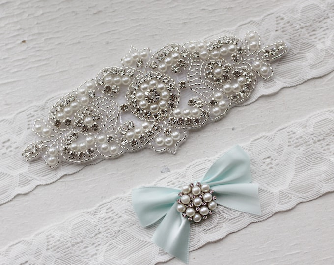 Something blue Wedding Garter Set NO SLIP grip vintage rhinestones pearl lace rhinestone, pearl garter B08S-B32