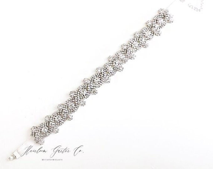 Bridal Choker Necklace, silver bridal necklace, adjustable length