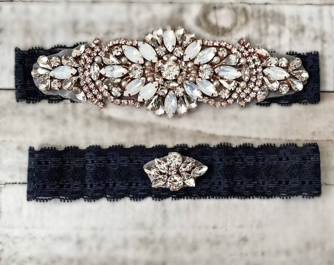 Something Blue Bridal Garter, navy garter, NO SLIP Lace Wedding Garter Set, bridal garter set, vintage rhinestones D18RG-D51RG