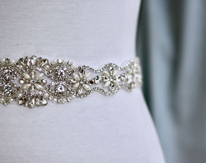 Rhinestone wedding belt, Bridal Sash, Wedding Belt, Wedding Sash Rhinestone and Pearl Sash B02S