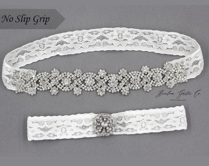 Wedding Garter, White Wedding Garter Set, NO SLIP grip Lace Wedding Garter Set, bridal garter set CB46-C19S
