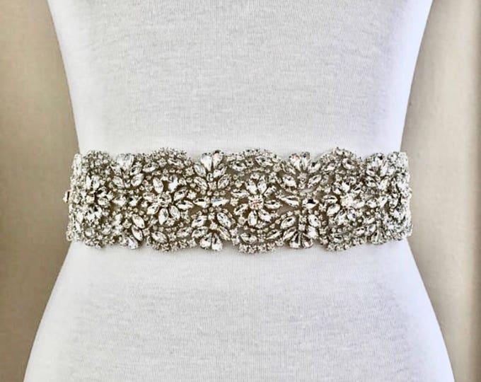 Bridal Belt, Bridal Sash, Wedding Belt, Wedding Sash Rhinestone and Pearl Sash B09