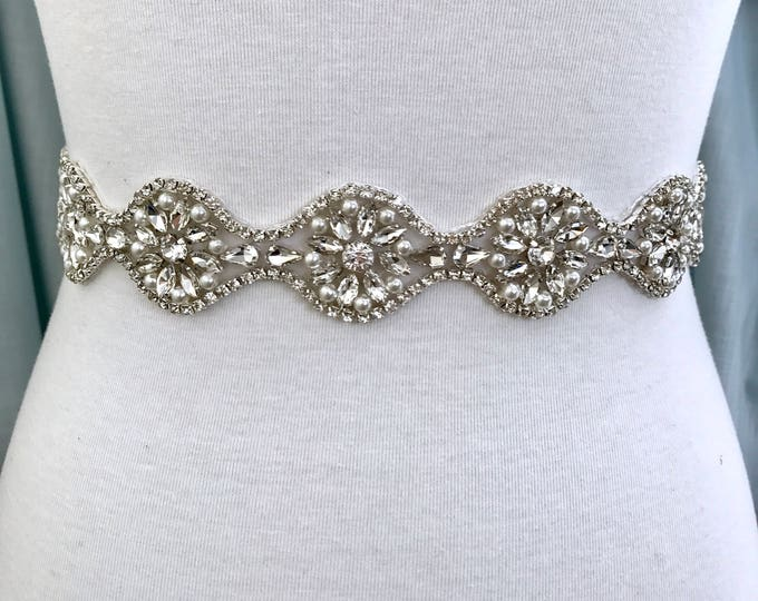 Silver crystal Bridal Belt, Bridal Sash, Wedding Belt, Wedding Sash Rhinestone prom belt B29