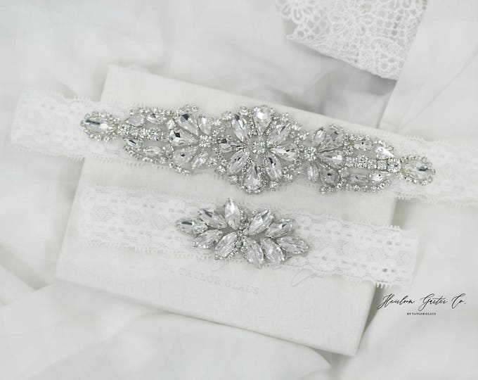Dainty Wedding Garter, NO SLIP Lace Wedding Garter Set, bridal garter set D20-D21