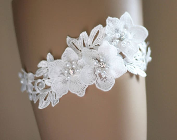 Floral Wedding Garter, rhinestone garter, tropical garter, lace and flower garter WHITE E27