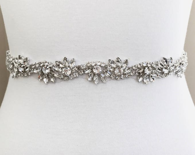 Silver crystal Bridal Belt, Bridal Sash, Wedding Belt, Wedding Sash Rhinestone prom belt B05S