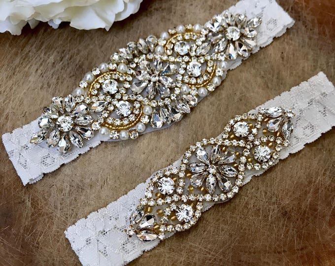 Crystal Gold Ivory Wedding Garter Set NO SLIP grip, IVORY C01G-C02G