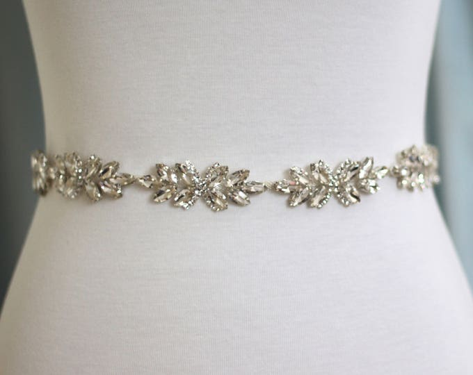Crystal Bridal Belt - The Perfect Dainty  Bridal Sash and Wedding Belt B07