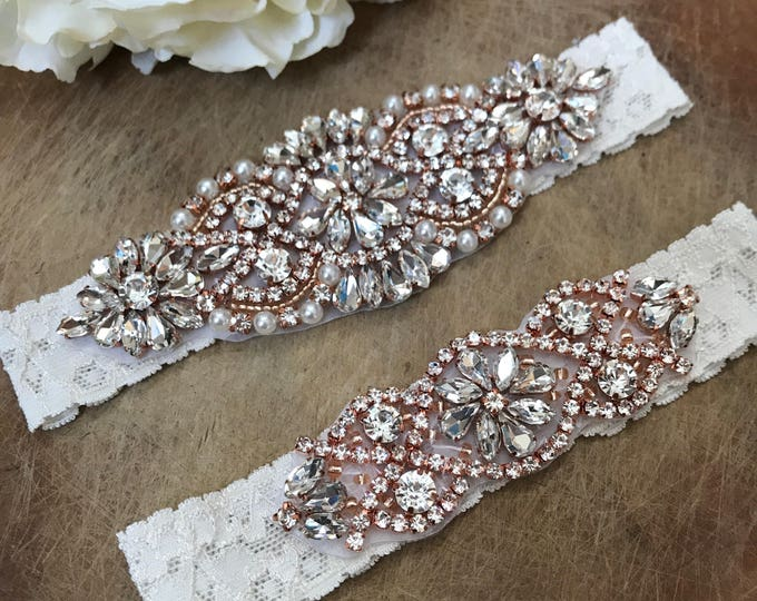Crystal Rose Gold Ivory Wedding Garter Set NO SLIP grip vintage rhinestones IVORY C01RG-C02RG
