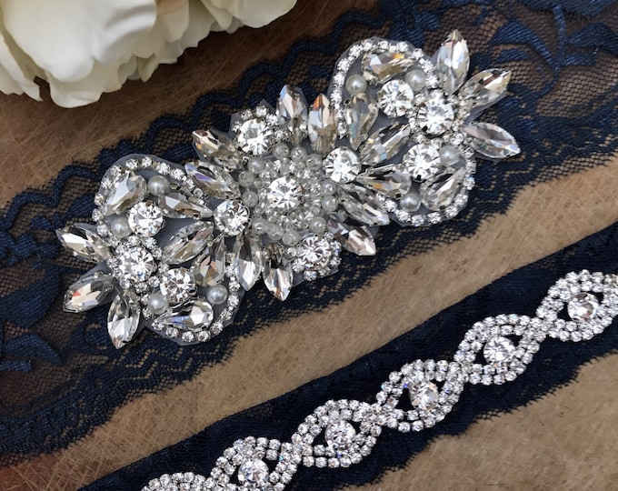 Navy Wedding Garter Set NO SLIP grip vintage rhinestones, pearl and rhinestone garter set, Something Blue A26-A*B19S