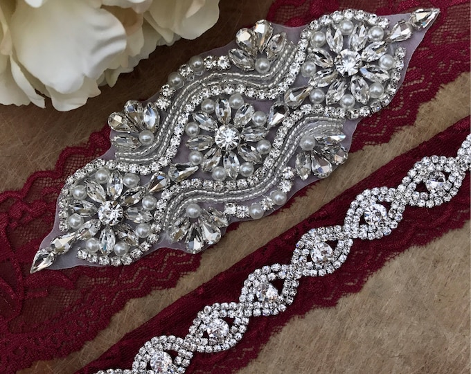 Burgundy Red Wedding Garter Set NO SLIP grip vintage rhinestones A05S-A*B19S