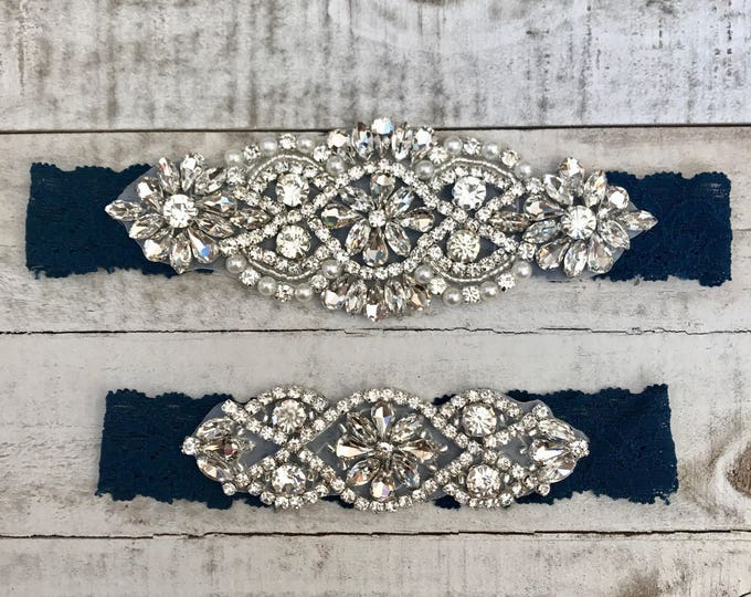 Something Blue Bridal Garter, navy garter, NO SLIP Lace Wedding Garter Set, bridal garter set, vintage rhinestones NAVY D01S-D02S