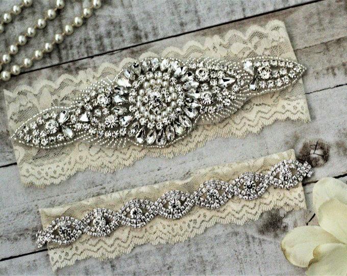 Ivory Wedding Garter Set NO SLIP grip vintage rhinestones, pearl and rhinestone garter set A14S-A*B19S