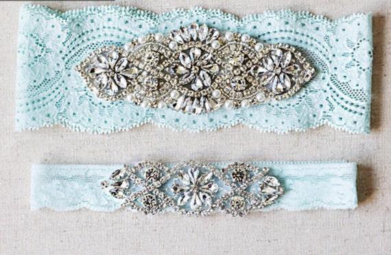 Wedding Garter Set, lace wedding garters rhinestones pearl lace rhinestone G01S-G*02S