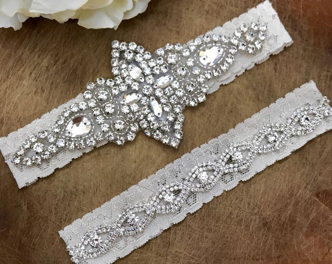 Ivory Wedding Garter Set NO SLIP grip vintage rhinestones C03S-CB19S