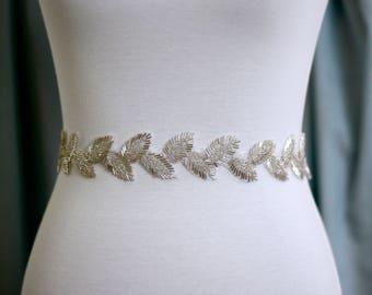 Boho Bridal Belt, Leaf Boho Bridal Sash, Wedding Belt, Wedding Sash Rhinestone and Pearl Sash, B31