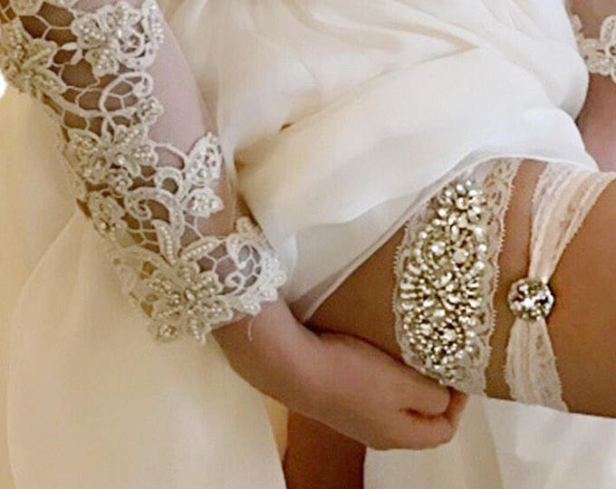 Wedding Garter Set NO SLIP grip vintage rhinestones, bridal garter set AO1S-A19