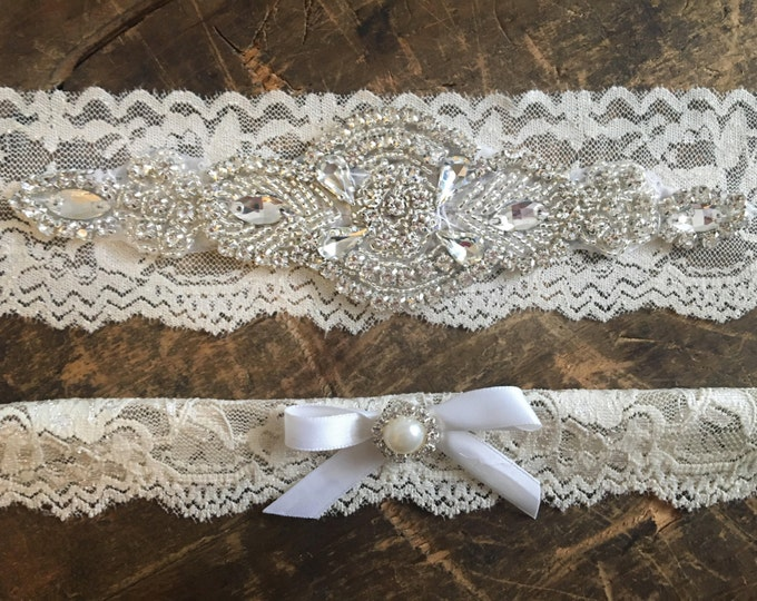 Wedding Garter Set Crystal and Pearl NO SLIP grip, IVORY A06S-A*31