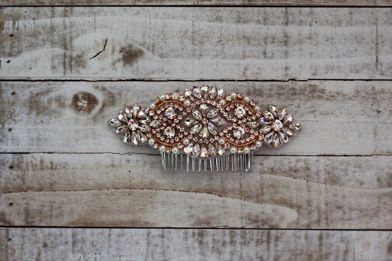 Pearl and Rhinestone Hair Accessory 01RG Bridal Headpiece Rose Gold Wedding Hair Comb Rhinestone Hairpiece