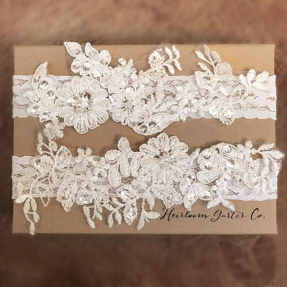 Floral Lace Wedding Garter Set, Bridal Garter Set, Vintage Rhinestones C16 C16 by Etsy