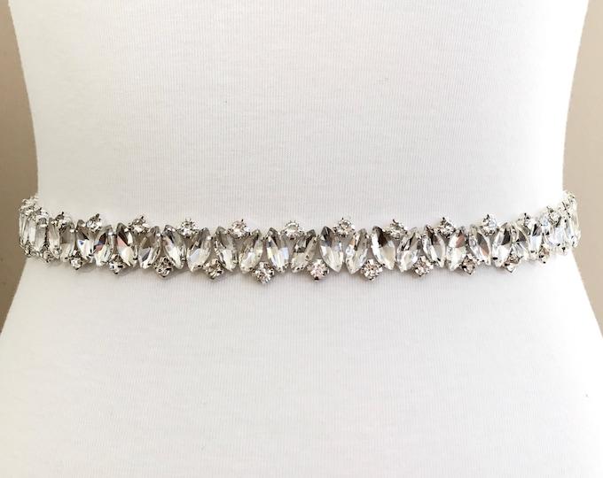 Silver crystal Bridal Belt, Bridal Sash, Wedding Belt, Wedding Sash Rhinestone prom belt, B13