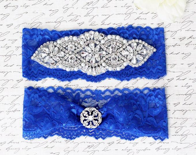 Royal blue Wedding Garter Set no slip grip vintage rhinestones ROYAL BLUE A01S-A19S