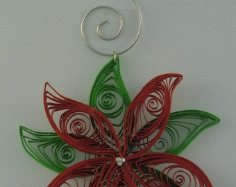 Quilled Green & Red Poinsettia Christmas Holiday Ornament