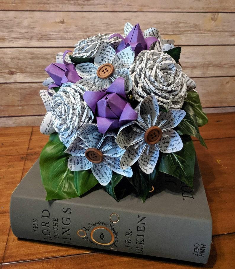 Wedding Flowers Buttons Book Paper Flower Bouquet- Rustic Bridesmaid Bookworm