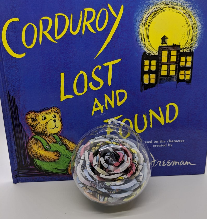 Book Page Upcycled Corduroy Rose HolidayChristmas Ornament