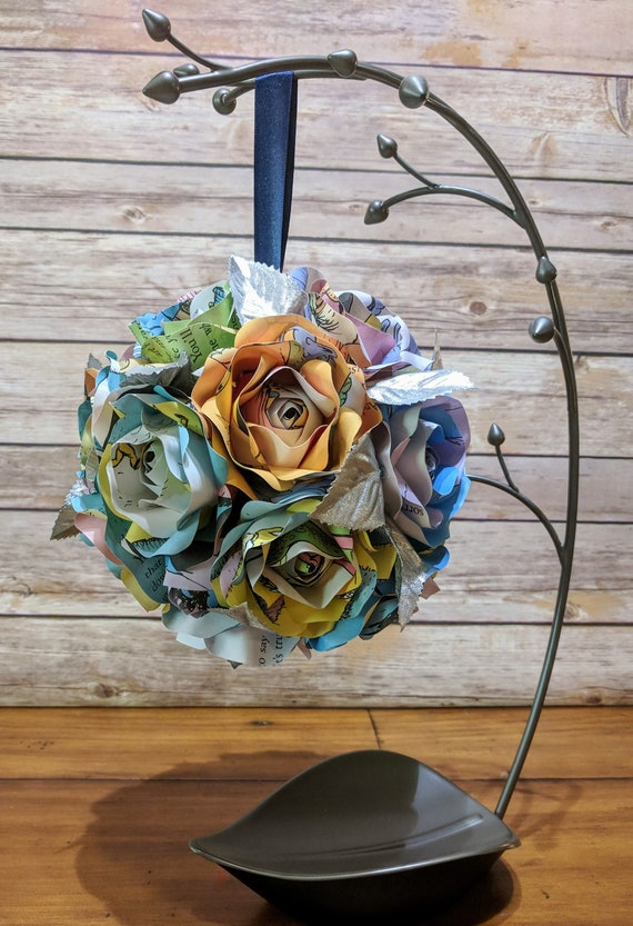 Wedding Flower Girl PomanderKissing Ball The Places You/'ll Go Book Flowers