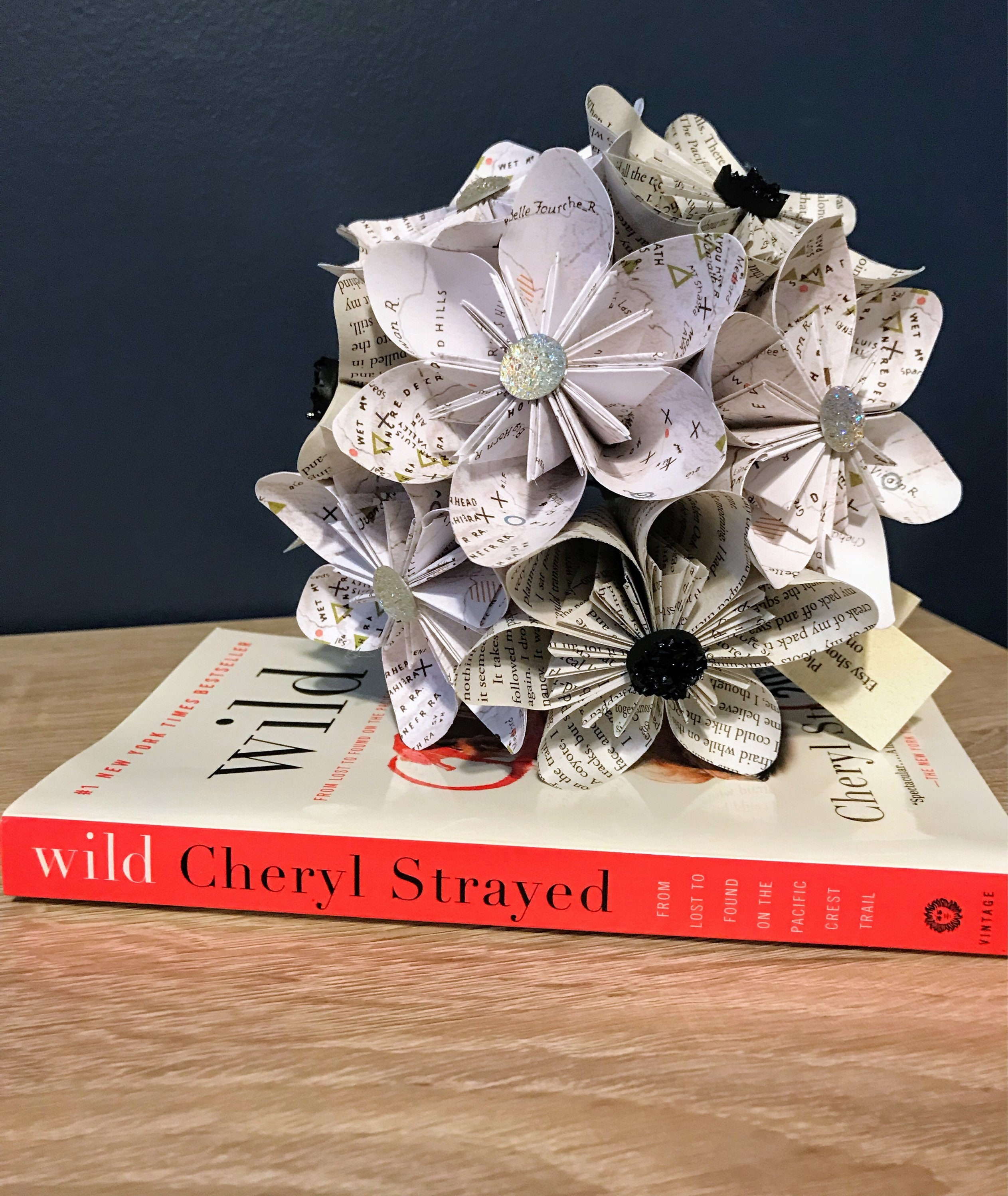 Book Page Paper Flower Kusudama Bouquet Map Wild Cheryl