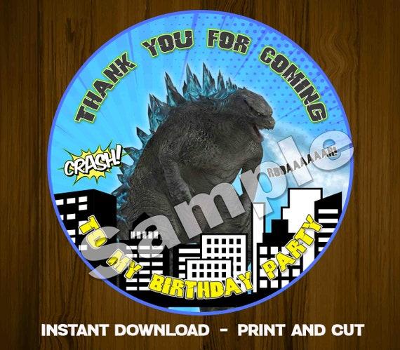 Godzilla Thank you Tag godzilla Favor Label round godzilla Etsy