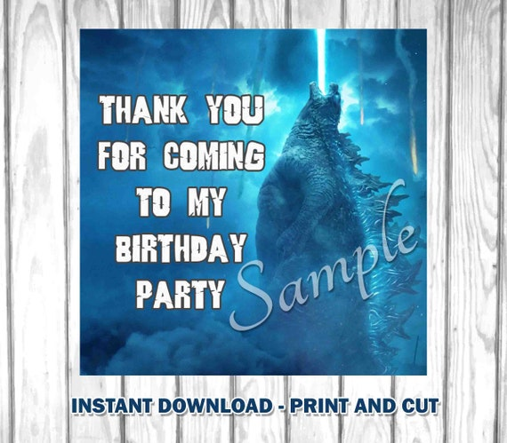Godzilla favor tags Godzilla gift tag Godzilla printable Etsy