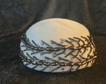 Vintage Beaded Pillbox Hat