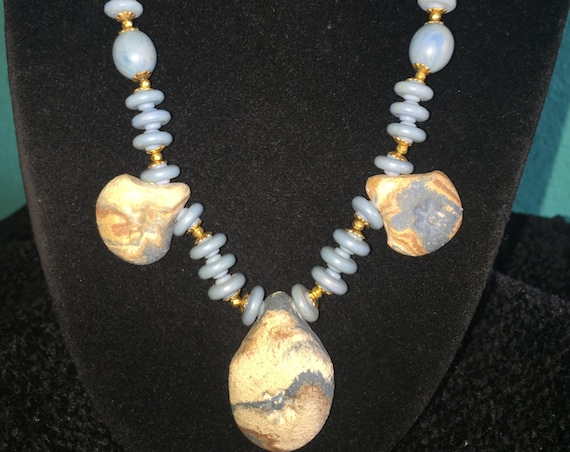 Miriam Haskell unique 1970's blue, tan  and  grey  pastel ceramic one  strand necklace . Unique style     FREE SHIPPING    75.00.