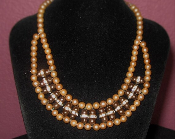 "50's  unique   egyptian revival  gold tone pearl with purple beads and clear rhinestones  accents adjustable  bib  choker necklace 13"" 30.00"