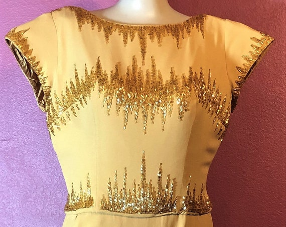 1950's Hollywood  form fitting  elegant  dress . HARVEST GOLD w/Gold & Silver hand beaded neckline  s-med 150.00 small