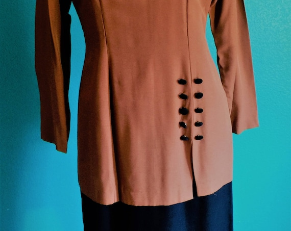 80's Jennifer James dress,black ,copper,one piece paneled ,sophisticated  size 4-6    45.00